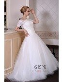 Ball-Gown Off-the-Shoulder Sweep Train Tulle Wedding Dress With Appliquer Lace