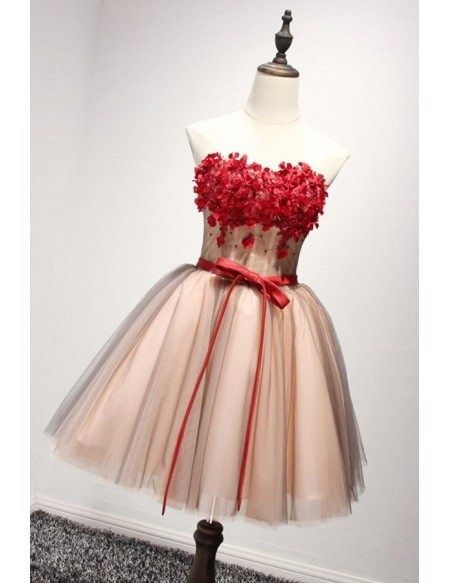 Lovely Ball-gown Strapless Short Tulle Homecoming Dress With Appliques Lace