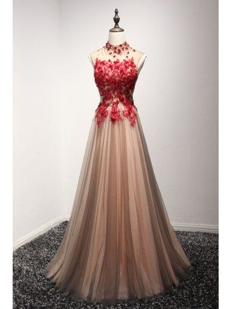 Special A-line High Neck Floor-length Tulle Prom Dress With Appliques Lace
