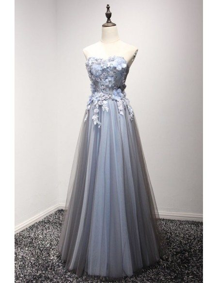Dusty Blue A-line Strapless Floor-length Tulle Prom Dress With Appliques Lace