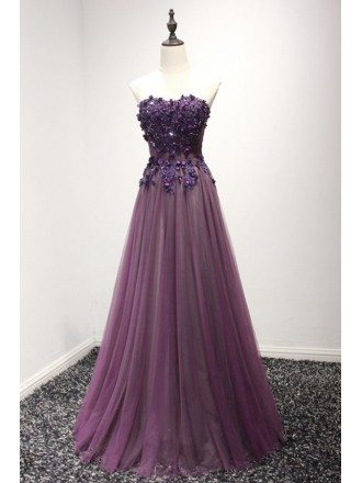 Purple A-line Sweetheart Floor-length Tulle Prom Dress With Beading
