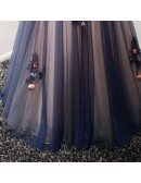 Special Ball-gown V-neck Floor-length Tulle Prom Dress With Flowers