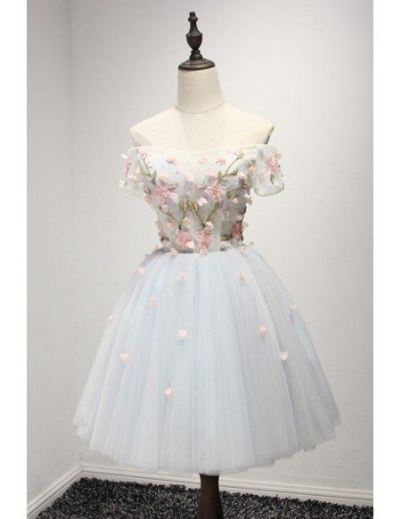 Sweet Ball-gown Off-the-shoulder Short Tulle Homecoming Dress With Appliques Lace
