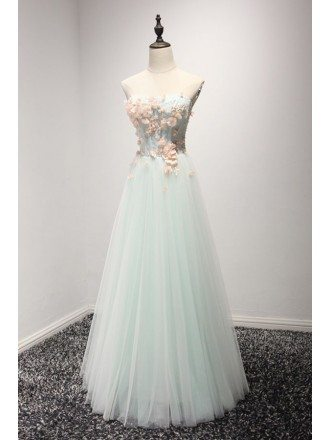 Mint Green A-line Sweetheart Floor-length Tulle Prom Dress With Flowers