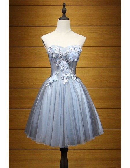 Dusty Blue Ball-gown Sweetheart Short Tulle Homecoming Dress With Appliques Lace