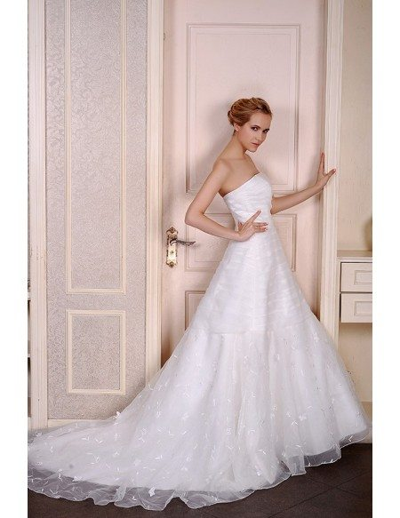 Ball-Gown Strapless Court Train Tulle Wedding Dress With Flowers Pleated