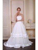 Ball-Gown Strapless Court Train Satin Organza Wedding Dress With Pleated Trim