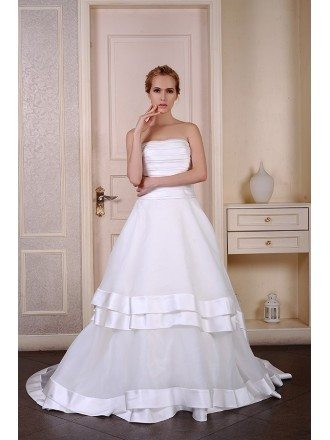 Ball-Gown Strapless Court Train Satin Organza Wedding Dress With Pleated Trim
