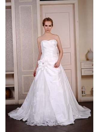 Ball-Gown Sweetheart Court Train Satin Tulle Wedding Dress With Appliquer Lace Flowers
