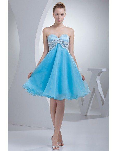 Cute Sweetheart A-line Organza Short Prom Dress