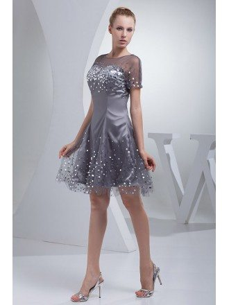 Silver Satin Sequins On Tulle Prom Dress with Sleeves
