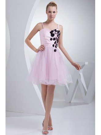 Pink with Black Flowers Tulle Prom Dress with Spaghetti Straps