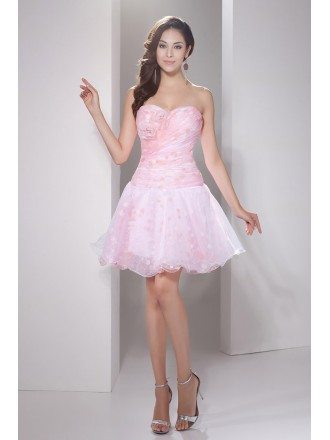 Printed A-line Sweetheart Short Tulle Prom Dress