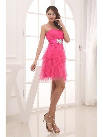 A-line Strapless Short Tulle Prom Dress Dress With Cascading Ruffle