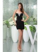 Sheath Sweetheart Short Satin Prom Dress With Beading