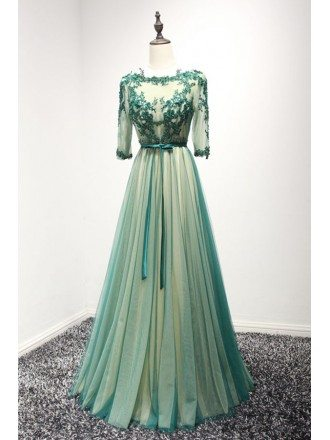 Green A-line Scoop Neck Floor-length Tulle Prom Dress With Appliques Lace
