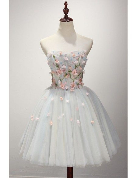 Blue Ball-gown Sweetheart Short Tulle Homecoming Dress With Flowers