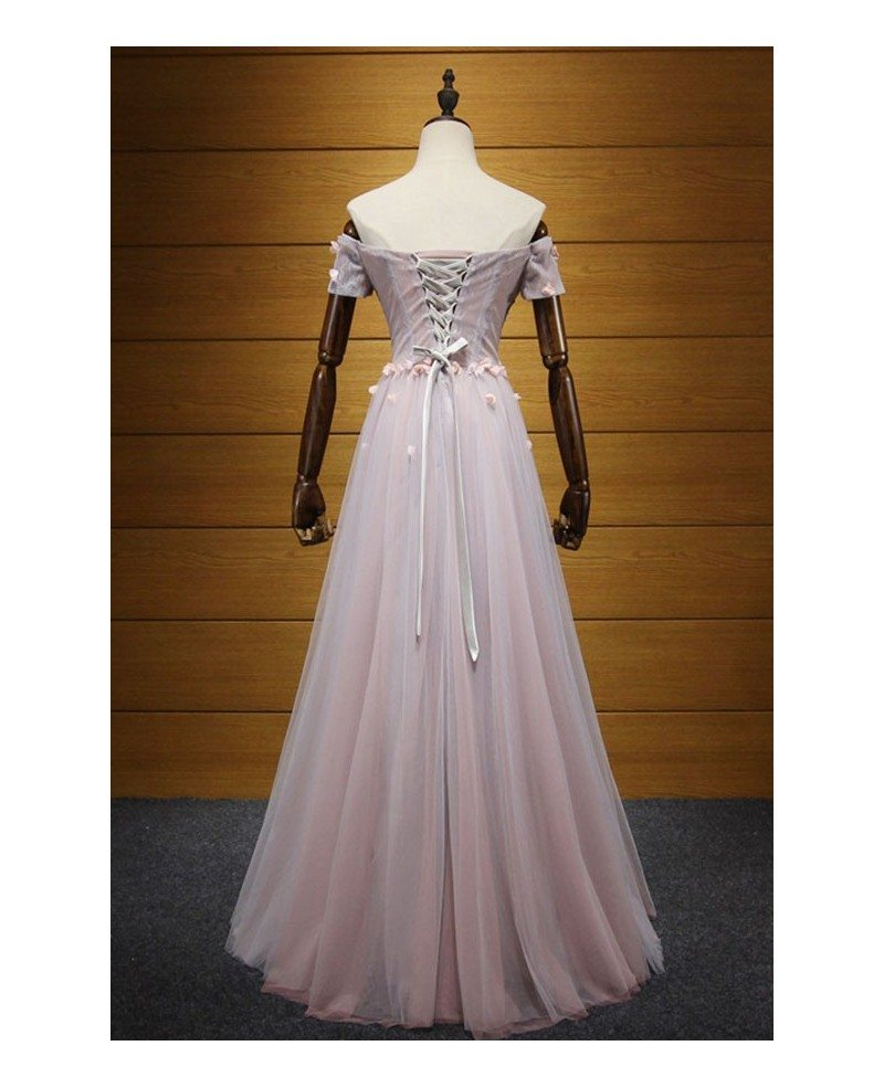 Blush A Line Off The Shoulder Floor Length Tulle Prom