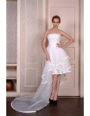 A-Line Strapless Asymmetrical Organza Wedding Dress With Appliquer Lace Trim