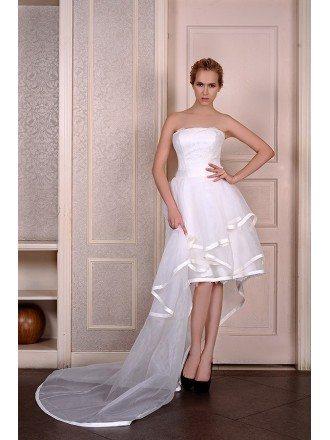 A-Line Strapless Asymmetrical Organza Wedding Dress With Appliquer Lace Trim