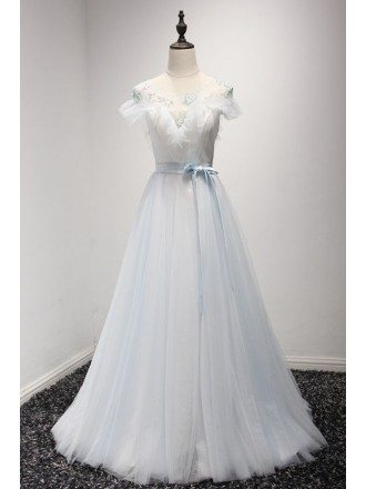 Blue Ball-gown Sweetheart Floor-length Tulle Prom Dress With Beading