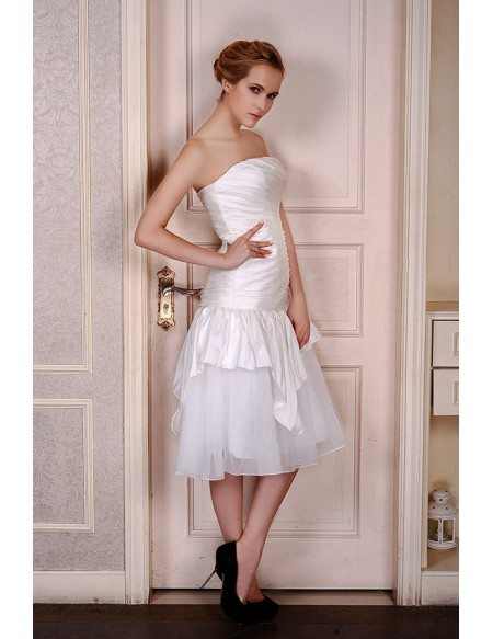 A-Line Strapless Tea-Length Satin Tulle Wedding Dress With Pleated