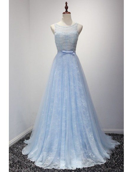 Blue Ball Gown Scoop Neck Floor Length Tulle Prom Dress With Lace