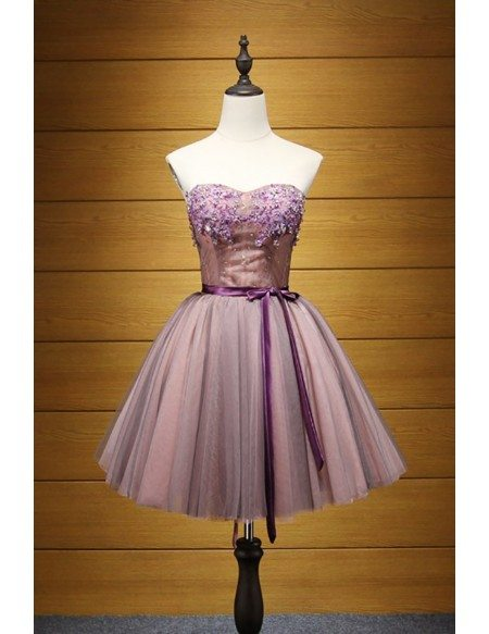 Purple Ball-gown Sweetheart Short Tulle Homecoming Dress With Beading