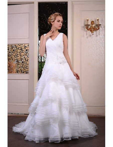 Ball-Gown V-neck Court Train Organza Wedding Dress With Flowers Pleated Ruffles