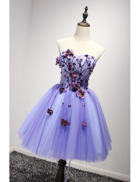 Special Ball-gown Sweetheart Short Tulle Homecoming Dress With Flowers