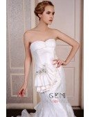 Mermaid Sweetheart Court Train Satin Wedding Dress With Beading Pleated