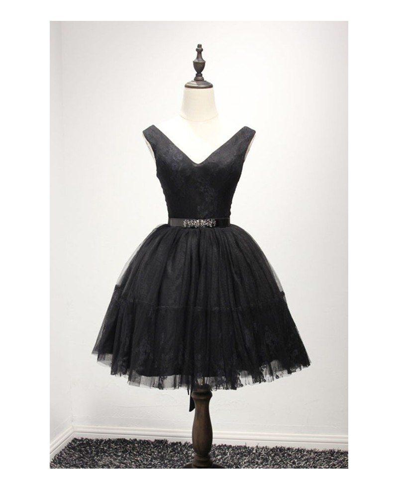 Black Ball Gown V Neck Short Tulle