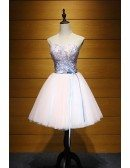 Blush Ball-gown Sweetheart Short Tulle Homecoming Dress With Appliques Lace