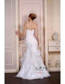 Mermaid Strapless Sweep Train Lace Organza Wedding Dress With Beading