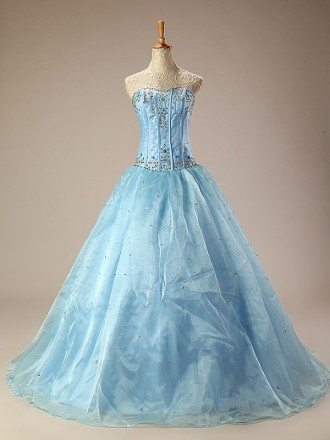 Ball Gown Long Sequined Embroidered Blue Wedding Dress