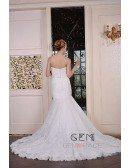 Mermaid Sweetheart Chaple Train Lace Wedding Dress With Beading