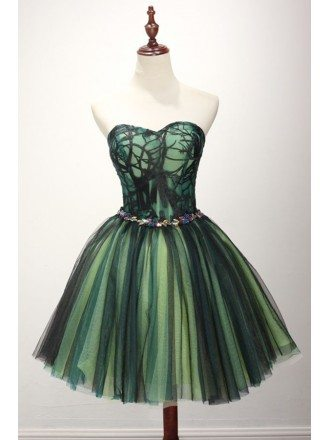 Special Ball-gown Sweetheart Short Tulle Homecoming Dress With Appliques Lace
