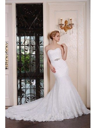 Mermaid Sweetheart Chaple Train Lace Wedding Dress With Beading