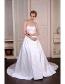 Ball-Gown Strapless Court Train Satin Wedding Dress With Beading