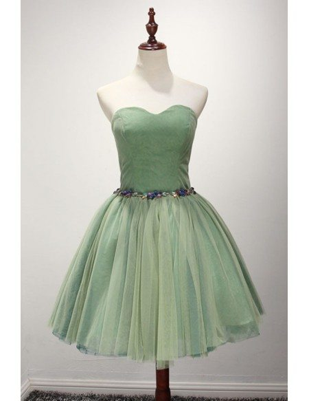 Green Ball-gown Sweetheart Short Tulle Homecoming Dress With Beading