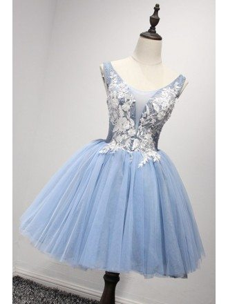 Retro Ball-gown V-neck Short Tulle Homecoming Dress With Appliques Lace