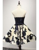 Special Ball-gown Strapless Short Tulle Homecoming Dress With Appliques Lace