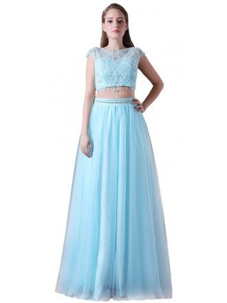 A-line Two Pieces Floor-length Tulle Prom Dress With Beading