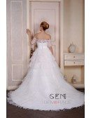 Ball-Gown Off-the-Shoulder Court Train Tulle Wedding Dress With Beading Appliquer Lace Ruffles