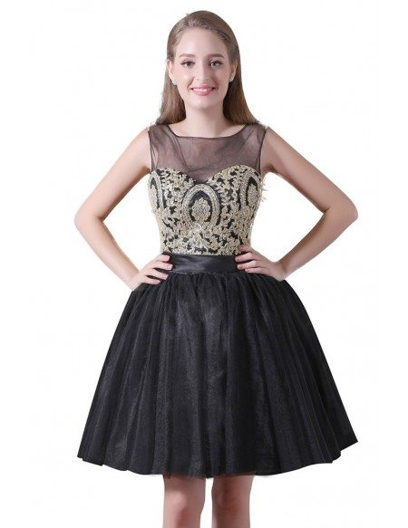 Ball-gown Scoop Neck Knee-length Tulle Homecoming Dress With Lace