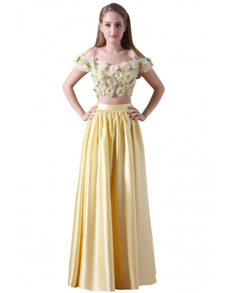 A-line Two Pieces Floor-length Satin Prom Dress With Flowers