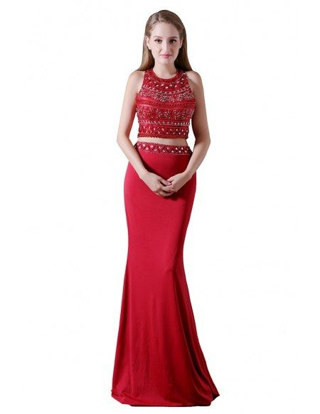 Sheath Two Pieces Floor-length Chiffon Prom Dress With Beading