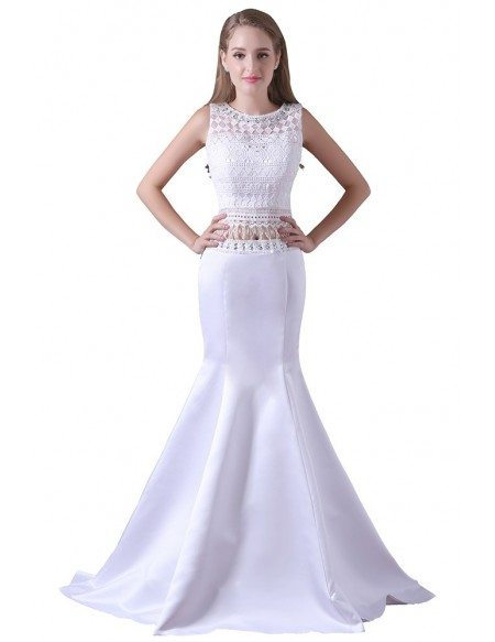 Mermaid Two Pieces Floor-length Chiffon Prom Dress With Lace