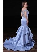 Mermaid Off-the-shoulder Sweep Train Satin Prom Dress With Beading
