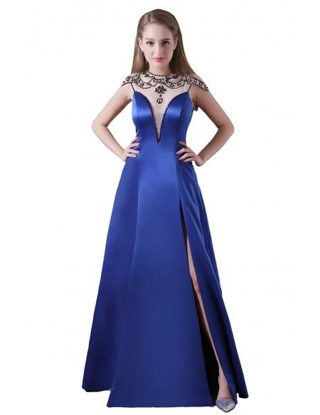 Ball-gown High Neck Floor-length Satin Prom Dress With Beading